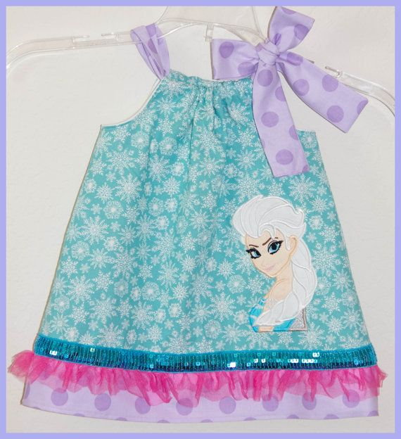 Super Cute Disney Frozen Elsa  applique dress Teal Purple and Hot Pink on Etsy, $27.00