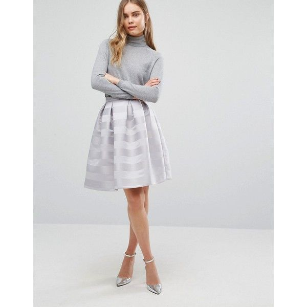 Warehouse Stripe Jacquard Prom Skirt (€39) ❤ liked on Polyvore featuring skirts, grey, zipper skirt, prom skirt, high-waist skirt, tall skirts and high-waisted skirts