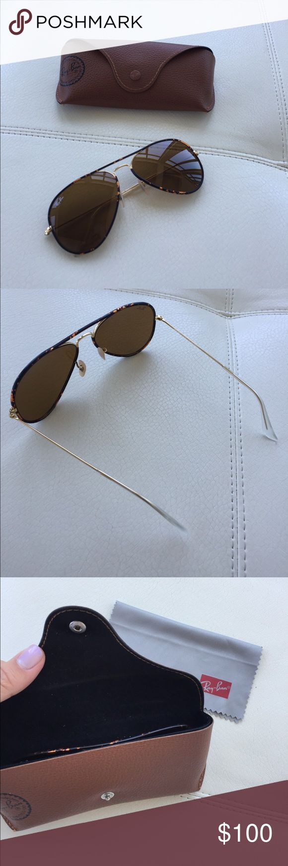 Ray-Ban tortoiseshell and gold aviator sunglasses Beautiful aviators in perfect condition. Authentic Ray-Ban only used a couple of times. Custom cleaning cloth and brown leather case included. Ray-Ban Accessories Sunglasses