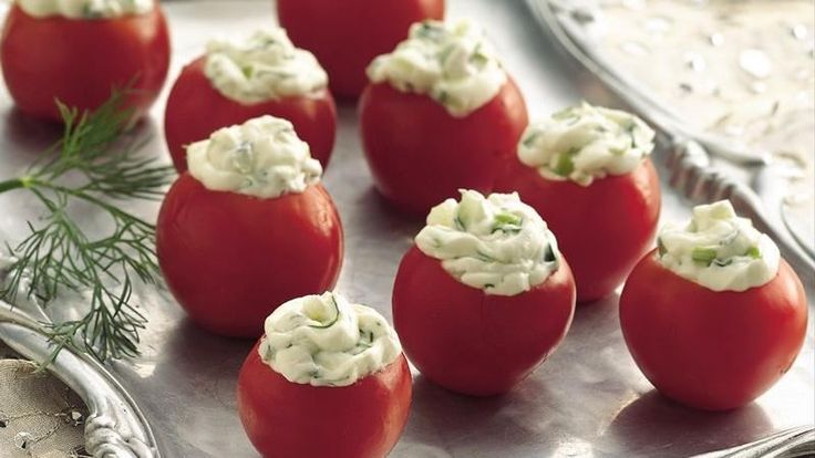 Blend snippets of fragrant fresh dill into cream cheese for an easy cherry-tomato filling.