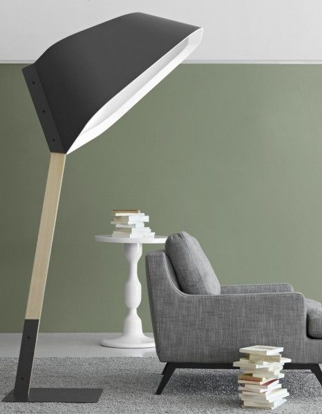 Peye floor lamp Cinna.  Imposing. love this beautiful lamp with its matte gray shade composite material and steel frame epoxy coated matt gray.
