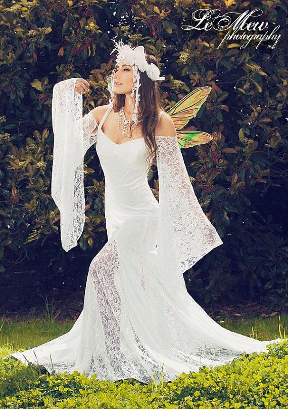 Isabella rückenfreie Strand oder mittelalterliche Hochzeitskleid mit abnehmbaren Ärmeln