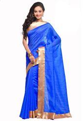 Blue Art Silk Saree with Blouse