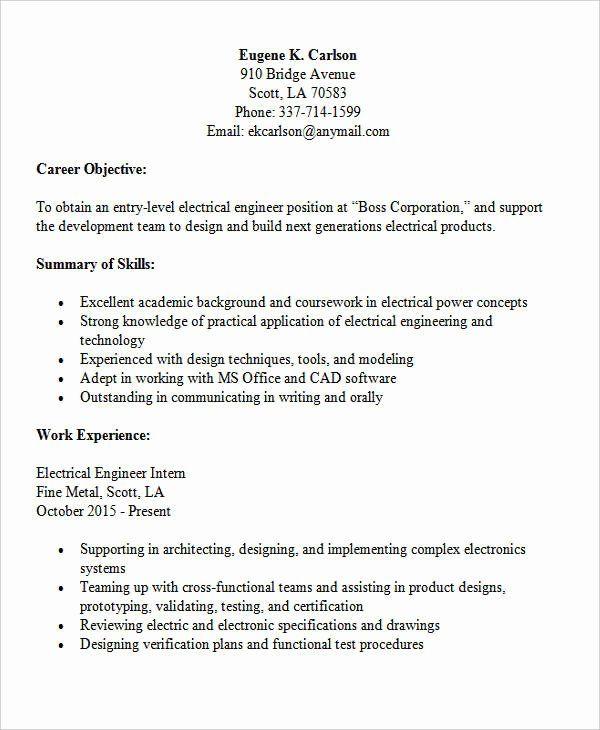 25 Entry Level Electrical Engineer Resume Engineering Resume