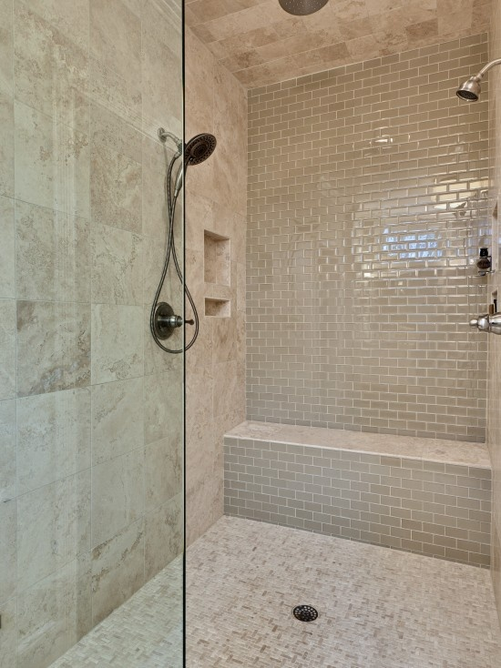 Multiple sizes of tile blend nicely into coordinated whole