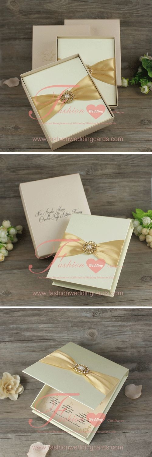 tie ribbon wedding invitation%0A Custom Beige Fabric Silk Cover Box Wedding Invitations with Brooch and  Champane Ribbon  fashionweddingcards