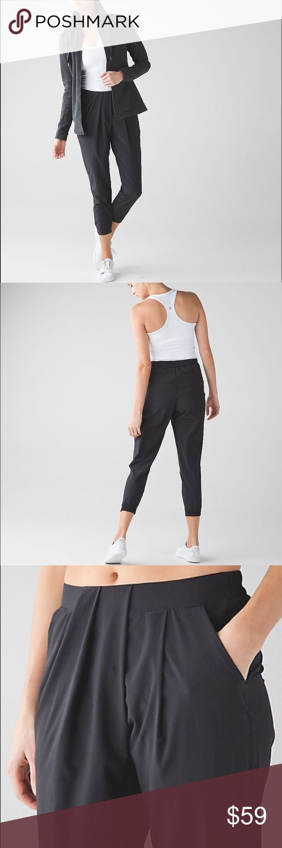 Lululemon Black Crop pants -SZ 10 Excellent condition, these high waisted Crop pants are perfect for travel, work, or just running errands. Have extra secure pocket for phone or money. Super comfy and light weight. Wore these on a flight to SE Asia and was so happy with them. Very flattering. Size 10. Hard to find! lululemon athletica Pants Track Pants & Joggers
