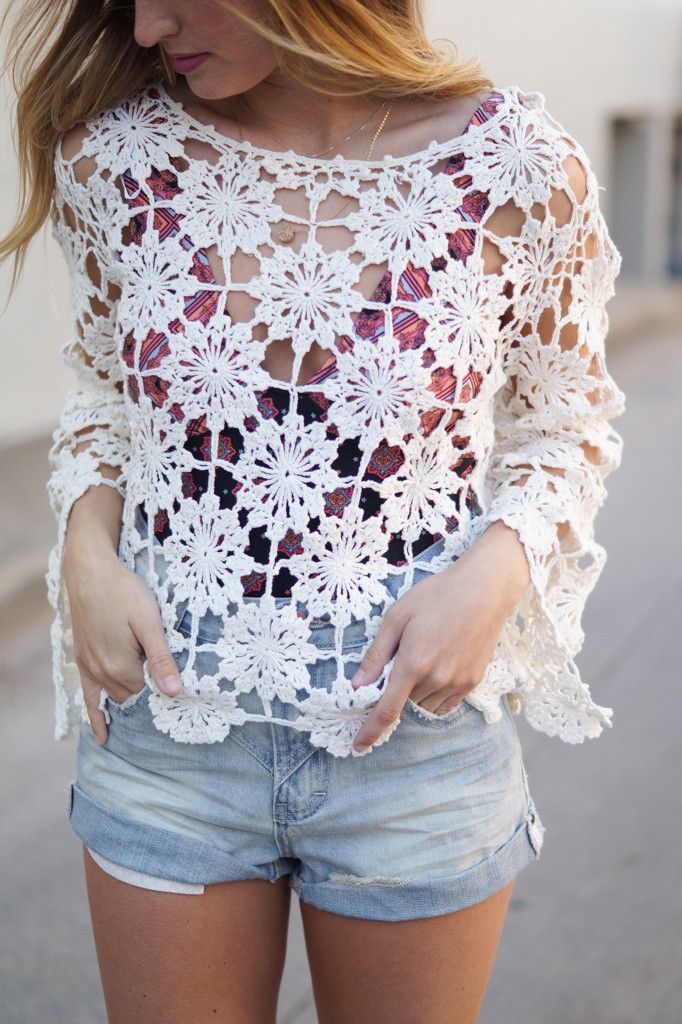 """- Details - Size - Shipping - Cotton - Unlined - Crochet - Long sleeves - Pull-over construction - Loose fit - Length: approx. 19"""" - Bust: approx. 40"""" - Measured from size S - Orders typically ship th"""