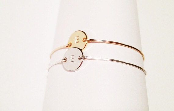 initial bangle  Initial Bracelet in Gold and by EandEProject, $24.00