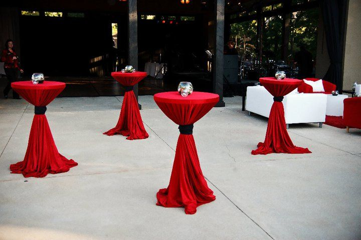 Cocktail Table Decorations Ideas cocktail wedding reception decor wedding cocktail hour decorations weddings romantique Your Event Solution Www4yescom Wedding Red And Black Cocktail High Boy Martini Tables My Boyfriend Needs To Propose Pinterest Martinis And Tables