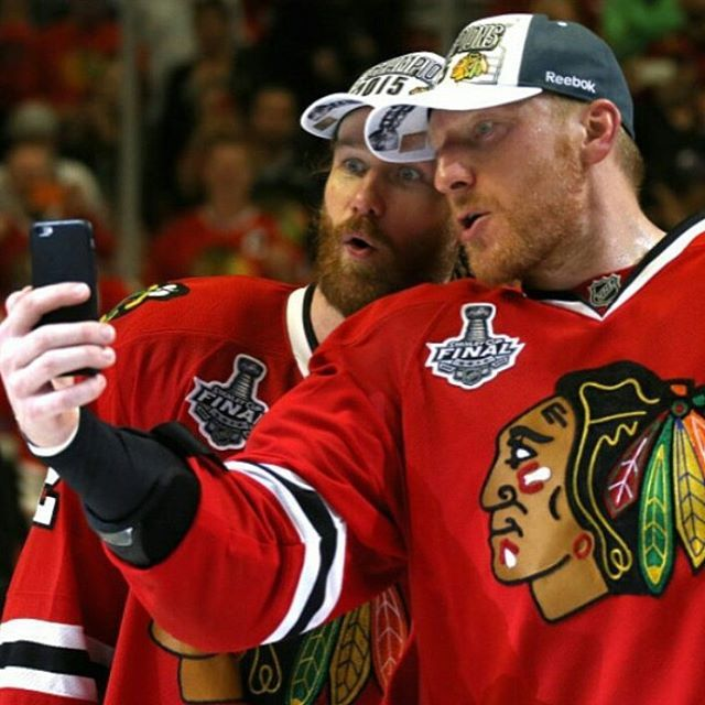 #TBT because both of my favorite Hawks scored last night, and seeing their selfie right after winning another Cup never gets old... #MarianHossa #DuncanKeith #ChicagoBlackhawks #81 #rightwing #2 #dman #nhl #GOHAWKS #chicagorunsonduncan #hosstheboss #mymainmanhossa