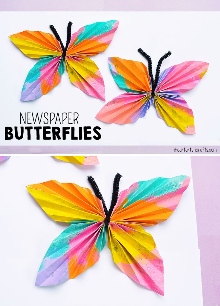 Newspaper Butterfly Kids Craft perfect for a spring kids craft and to re-use old newspapers.