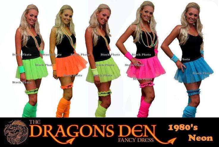 Details About Neon Pleated Tutu 1980s Clubbers Fancy Dress