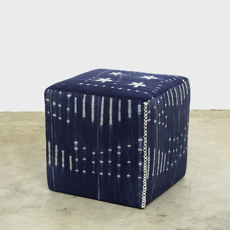 """Vintage Indigo fabric cubes 18""""w x 18""""h Vintage and One of a Kind indigo cloth covered ottoman"""