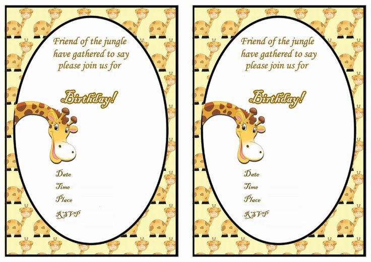 Giraffe Free Printable Birthday Party Invitations Birthday Party