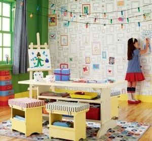 With peel and stick removable wallpaper you can let kids color on the walls!