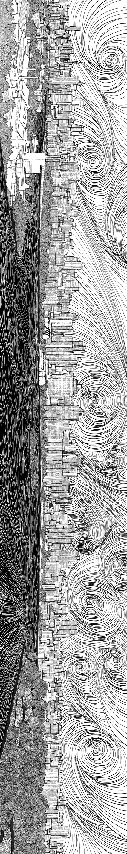 Manhattan NY river view  Materials: canvas, digital print, computer graphic Category: Digital Original size: (h) 34.5 * (w) 230.0 cm