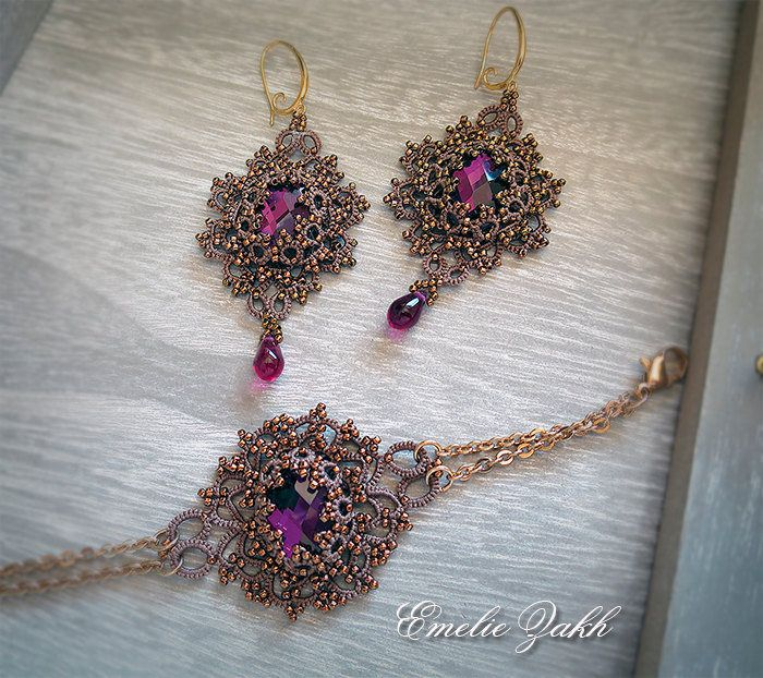 Tatting lace chandelier earrings and bracelet.Bronze frivolite. Amethyst crystal cabochon.Long earrings.Victorian Filigrees jewelry