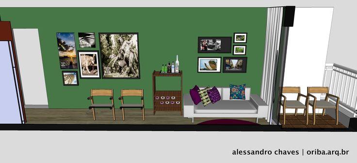 Apto São Paulo | Estar Jantar Cozinha 2. Sofá neutro + Almofadas coloridas + Tapete marcante + Bar Adega existente + Verde bacana + Composição de quadros!