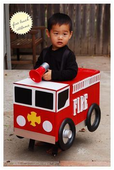 DIY Firetruck Costume - with list of supplies & step by step instructions