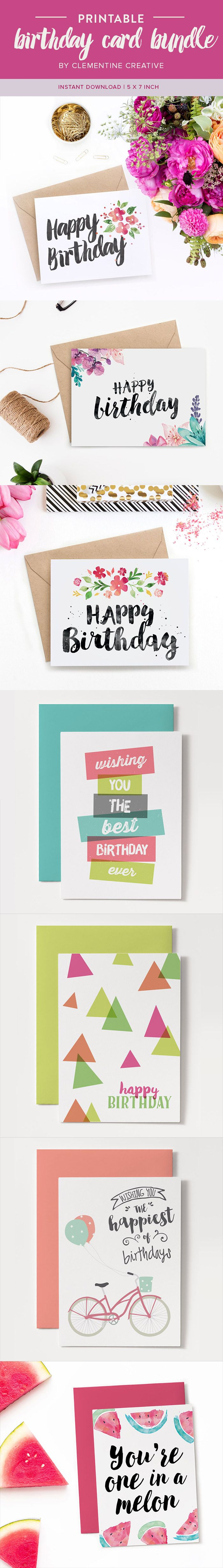 You won't run out of birthday cards with this bundle! Download all of these printable birthday cards instantly whenever you need them.