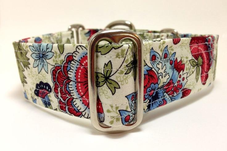 Jacobean Flowers Medium Martingale Collar -- Custom Size. $17.00, via Etsy.