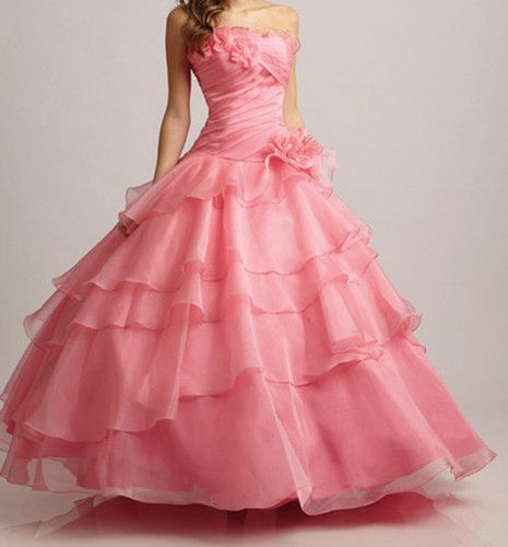 Fashion Strapless Organza Quinceanera Dresses Ball Gown Prom Dress Bridal Gowns | eBay