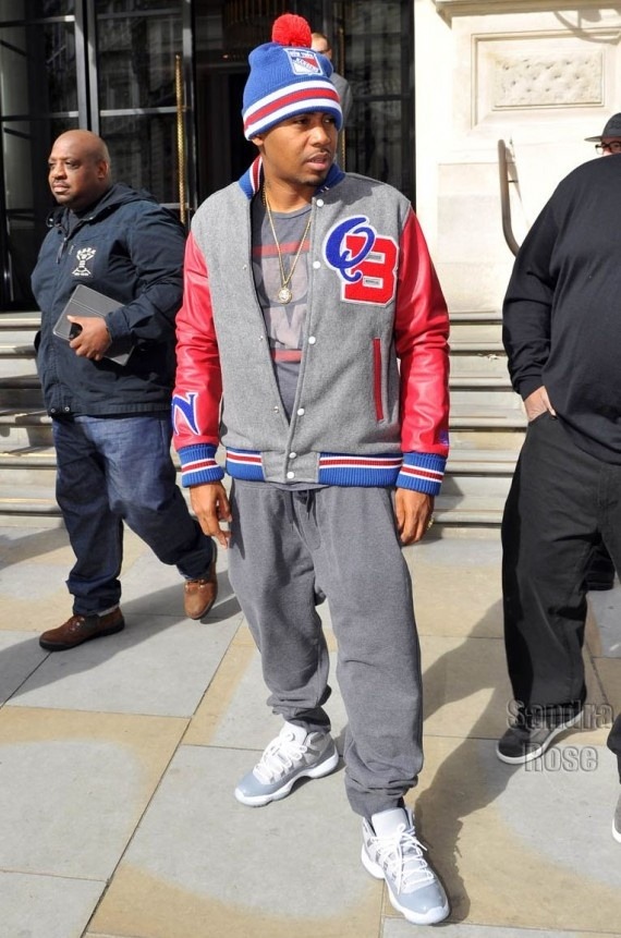 "d68656e4aab ... ""Cool Grey"" On-Foot Look Celebrity Kicks Sightings Nas Spotted Rockin  The Air Jordan XI ..."