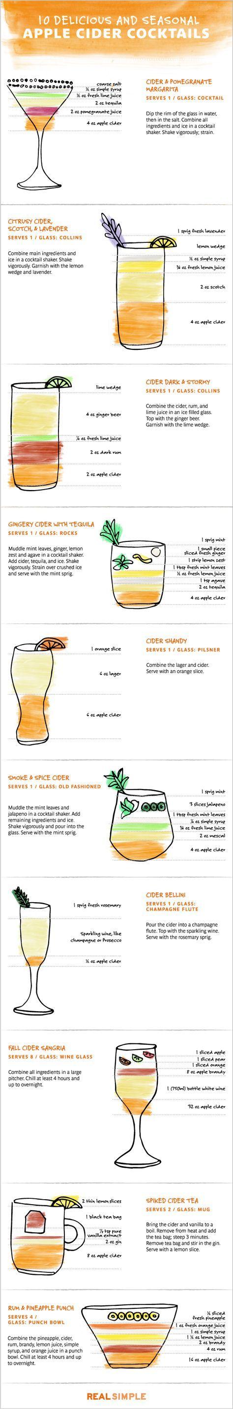 Apple Cider Cocktails by realsimple #Infographic #Cocktails #Apple_Cider