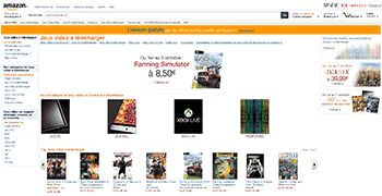 Amazon.fr lance la distribution dématérialisée de jeux vidéo - Plus de 700 logiciels et jeux vidéo pour PC et Mac sont maintenant disponibles en téléchargement. Les incontournables Rayman Legends, FIFA 14, Splinter Cell Blacklist, Farming Simulator 2013 et ...