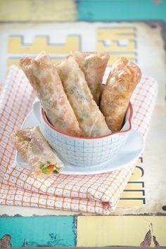 Spring rolls λαχανικών με αρωματικά και χαλούμι
