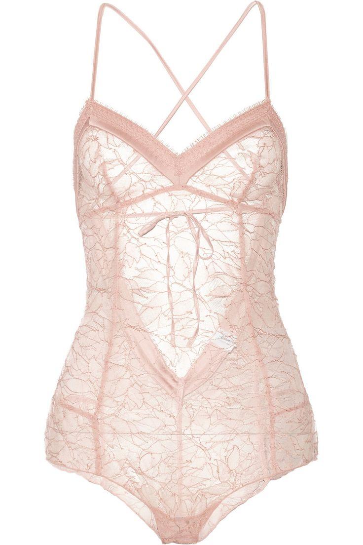 MADAME AIME Café de Flore satin-trimmed lace bodysuit $334.80 http://www.theoutnet.com/products/532352