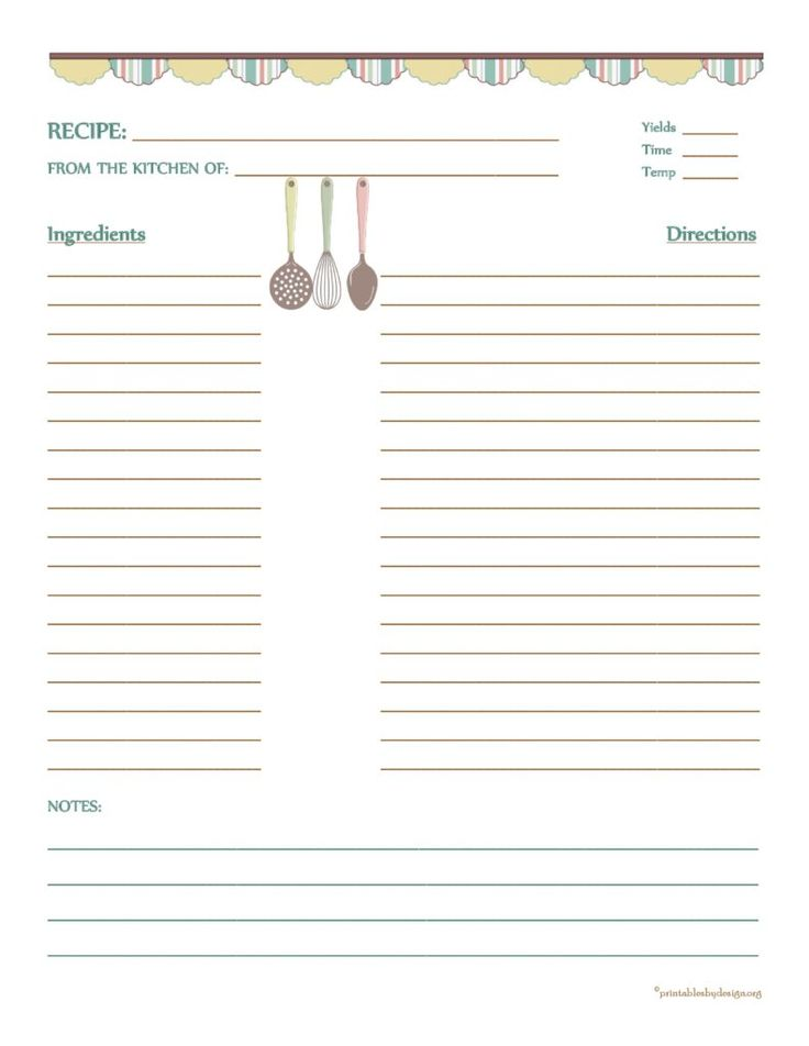 Country banner recipe card 8 1 2 x11 recipe template for Full page recipe template for word