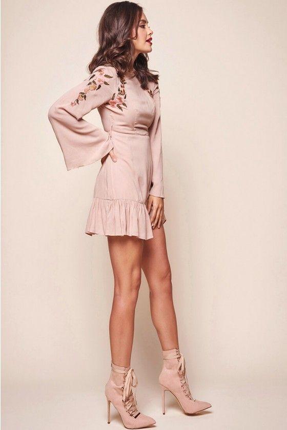 cef02f6d7e Shop the Yara Floral Embellished Fit and Flare Dress Blush