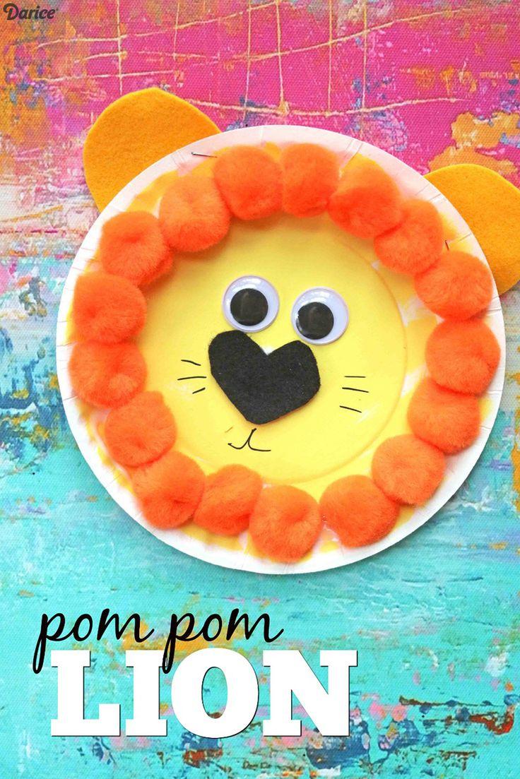 Paper Plate Pom Pom Lion - Kid Craft Idea