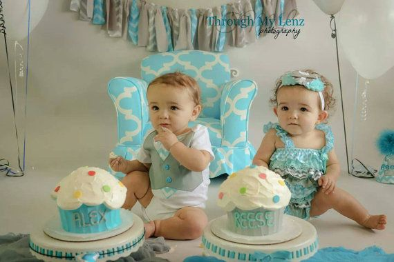 Baby Boy Girl Twin 1st Birthday Outfit...Twins by BetterThanBows