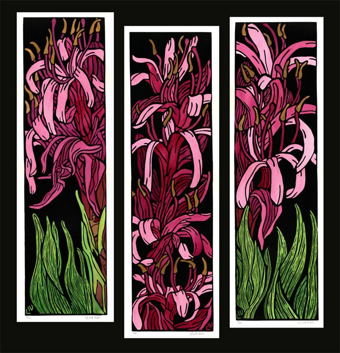 Tryptich Gymea Lillies by Lynette Weir. Hand-painted linocut.