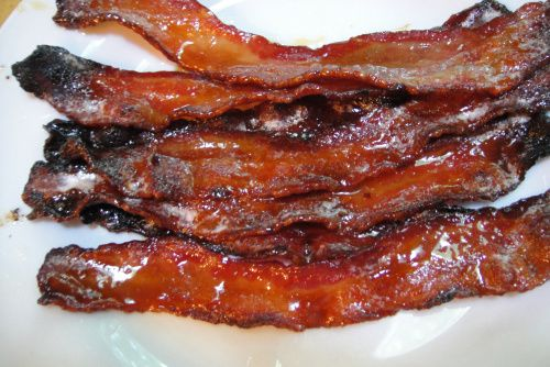 Maple-Candied Bacon: bacon, maple syrup, Dijon mustard,  pepper