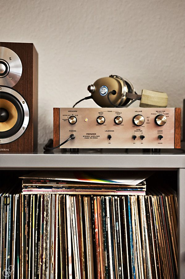 Vinyl records listening station