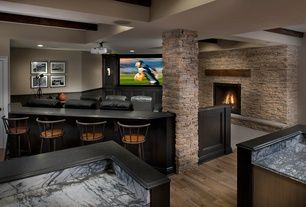 """Transitional Basement with Columns, Vizio M-Series M65-C1 65"""" Class Full Array 4K Smart LED TV, stone fireplace, Wall sconce"""