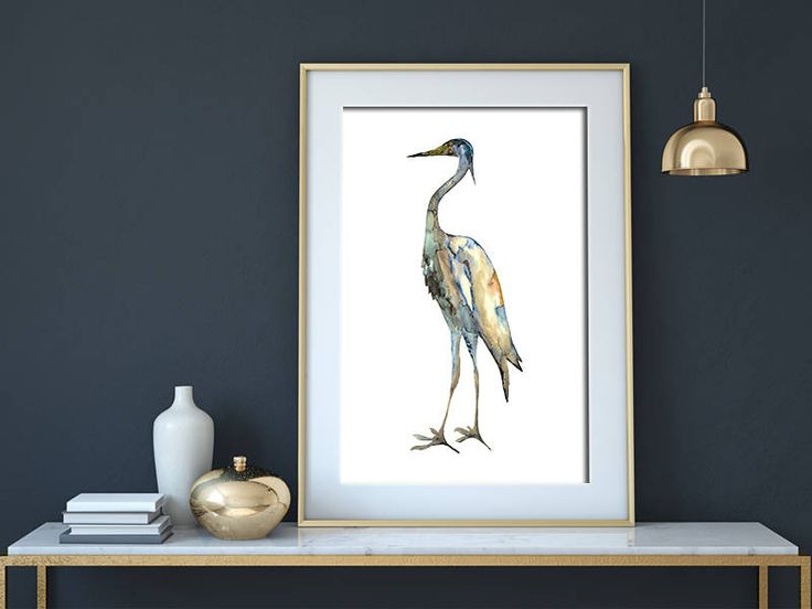 Crane #2 - ink painting - bird - nature at - instant download - print by purdeybarcelona on Etsy