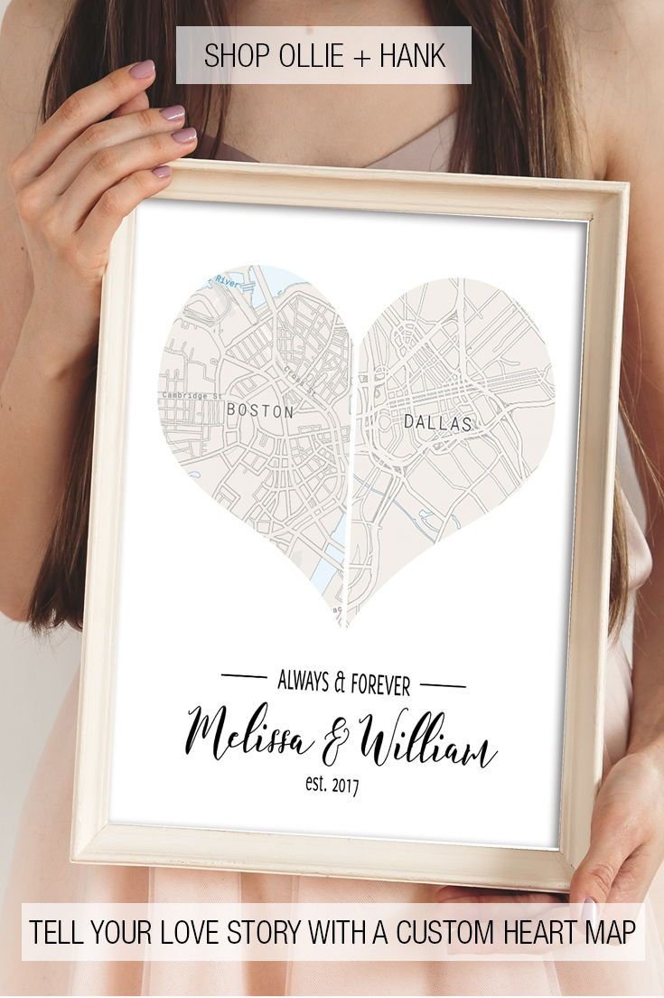 First Wedding Anniversary Gifts Heart Map Print Two