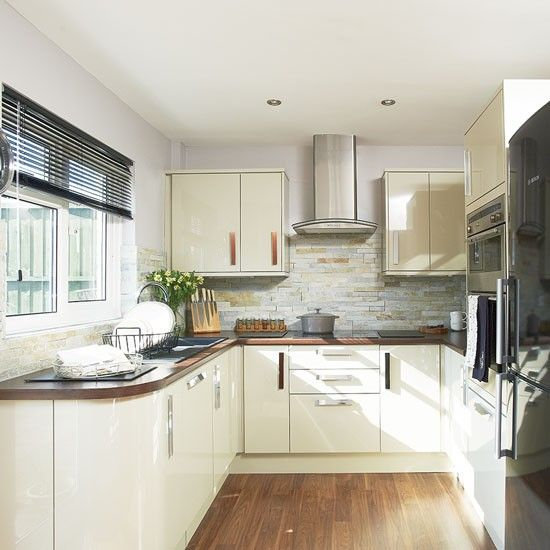 Cream gloss kitchen | laminate flooring | room ideas | photo gallery | style at home | house to home