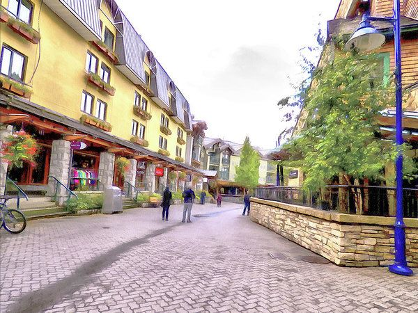 A Stroll Through Whistler Village - The Shops Art Print by Leslie Montgomery.