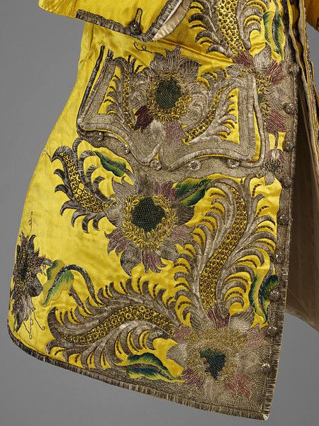 England, Great Britain. 1730-1739   Artist/Maker: Unknown.  Silk satin, silver thread, spangles, silk thread; hand-sewn and hand-embroidered.
