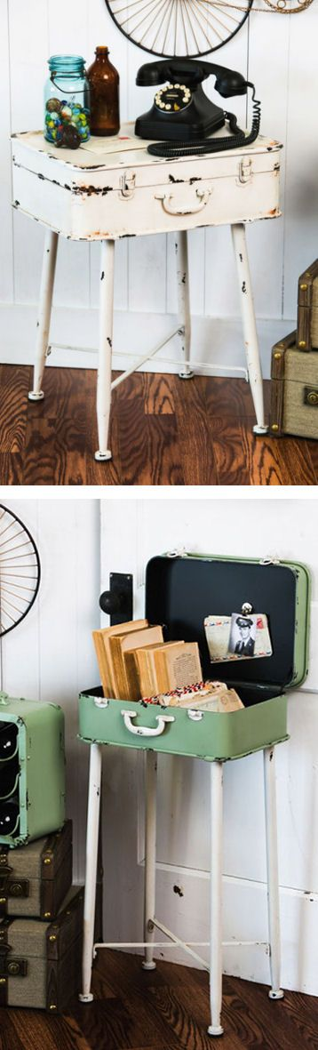 Suitcase Side Table || End Table #diy #inspiration #furniture