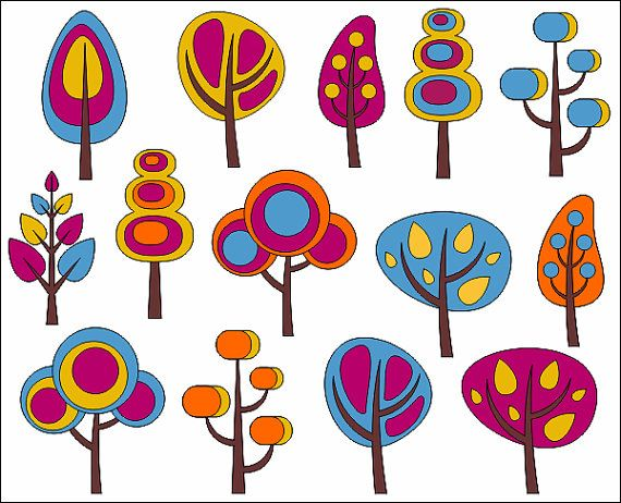Retro Trees Clip Art Autumn Trees Digital Clip Art by YarkoDesign