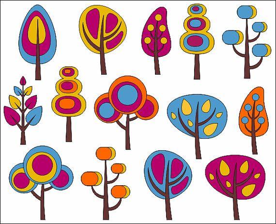 Retro Trees Clip Art Autumn Trees Digital Clip Art by YarkoDesign