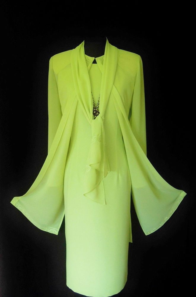 Designer Wedding Outfit Size 12 Lime Green Dress Wrap And