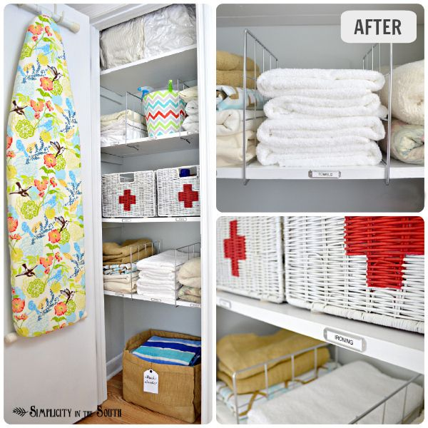 Linen Closet Organization - small home / BIG IDEAS series....cute Red Cross on baskets for meds